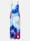 Adjustable Shoulder Strap Tie Dye Pocket Maxi Dress - Blue