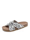 Plus Size Women Knotted Leopard Paisley Cloth Flat Shoes Summer Beach Holiday Cork slippers - White Leopard