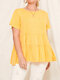 Plain Short Sleeve Plus Size Tiered Pleated Casual T-shirt - Yellow