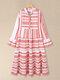 Geometric Print V-neck Plus Size Beach Tiered Dress - Red
