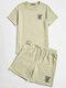 Mens Letter Graphics Crew Neck Short Sleeve T-Shirt & Drawstring Shorts Co-ords - Apricot
