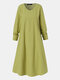 Solid Color Plain Pocket O-neck Long Sleeve Casual Dress for Women - Green