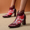 Women Elegant Veins Flowers Embroidered Lace Zipper Chunky Heel Summer Boots - Red