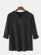 Mens Solid Color Cotton Linen V-Neck Casual Long Sleeve Henley Shirts - Black
