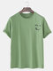 Mens Cotton Smile Face Chest Printed Loose Casual Short Sleeve T-Shirts - Green