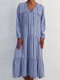 Casual Striped Print V-neck Long Sleeve Plus Size Knotted Dress - Blue