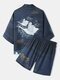 Mens Crane Back Pattern Open Front Kimono Japanese Style Two Pieces Outfits - Navy