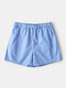 Lightweight Solid Color Shorts Beach Surfing Quick Drying Loose Casual Jogging Shorts for Men - Sky Blue