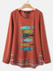 Fishes Print Plaid Patchwork Knitted O-neck Long Sleeve T-Shirt - Orange
