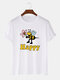 Mens 100% Cotton Bee Happy Printed Breathable Casual O-Neck Short Sleeve T-shirts - White