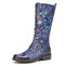 SOCOFY Gorgeous Flowers Pattern Colorful Stitching Elegant Zipper Lace Up Flat Mid Calf Boots - Blue