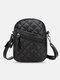 Women PU Leather Argyle Pattern Earphone Hole Casual 6.3 Inch Phone Bag Crossbody Bags Shoulder Bag - Black