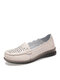 Women Stitching Carved Hollow Out Soft Comfy Slip On Loafers Casual Flat Shoes - Beige