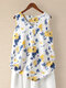 Ink Floral Print Sleeveless V-neck Tank Top For Women - Yellow