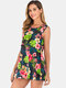 Maternity Floral Sleeveless Front Open Casual Nursing Tops - Black