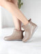 Women Brief Comfy Non-slip Waterproof Soft Slip On Solid Color Flat Rain Boots - Apricot