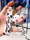 Resin Alloy Cartoon Cute Cow Keychain Charms - White
