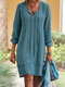 Solid Color Long Sleeve Bandage Casual Dress For Women - Blue