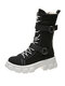 Women Casual Buckle Design Canvas Thick Bottom Shoes Non-slip Soft Mid Calf Boots - Black