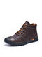 Men Soft Hand Stitching Lace-up Short-top Casual Business Ankle Boots - Dark Brown