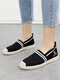 Women Knitted Stripe Casual Espadrille Flat Shoes For Women - Black