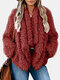 Solid Color Fleece Long Sleeve Winter Coat with Pockets - Wine Red