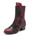 Women Retro Stitching Patched Comfy Wearable Chunky Heel Lace Up Zipper Short Boots - Red