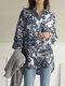 Print Long Sleeve Lapel Plus Size Linen Shirt with Button - White