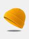 Bonnet unisexe en laine tricoté de couleur unie Casquettes de crâne Bonnets sans bord - Jaune