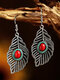 Bohemia Hollow Feather Leaf Shape Women Earrings Colorful Turquoise Pendant Earrings - Red