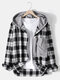 Mens 100% Cotton Classical Plaid Stitching Button Casual Hooded Shirts - Black