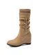 Women Drawstring Slip On Large Size Elegant Casual Suede Mid Calf Boots - Beige