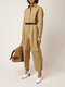 Solid Color Pleated Long Sleeve Casual Jumpsuit for Women - Beige