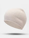 ユニセックスポリエステルコットンニットソリッドレタークロスラベルオールマッチ暖かさビーニーハット - ライトベージュ