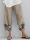 Fish Printed Patchwork Pockets Elastic Waist Pants With Pockets For Women - Beige