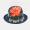 Ladies Curling Cap Travel Shopping Sun Hat Dome Embroidered Beach Hat Breathable - #04