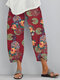Flower Print Pockets Casual Women Lounge Elastic Waist Pants - Red