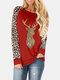 Christmas Leopard Patchwork Sequins O-neck Long Sleeve Plus Size Blouse - Red