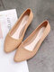 Women Casual Pointed Toe Breathable Hollow Jelly Slip On Block Heel Loafers - Apricot