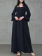 Solid Color A-Line Long Sleeve Maxi Cotton Loose Dress - Navy