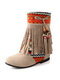 Women Tassel Boots National Style Splicing Flat Mid-Calf Moccasin Boots - Beige