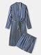 Mens Striped Lace Up Satin Plain Long Sleeve Robe Sets With Shorts - Blue