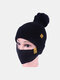 Women 2PCS Wool Winter Keep Warm Daily Casual Neck Face Protection Fur Ball Knitted Hat Beanie Mask - Black