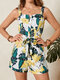 Tropical Flower Leaf Print Knotted Waistband Button Front Strap Romper - Yellow