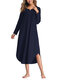 Asymmetrical Loose Long Sleeve Solid Color Dress - Navy