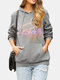 Women Letter Print Long Sleeve Casual Hoodie With Pocket - Gray