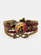 Vintage Printed Black Cat Flower Women Bracelet Multilayer Butterfly Pendant Bracelet - Brown