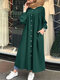 Casual Solid Color Crewneck Button Plus Size Dress with Pockets - Green