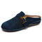LOSTISY Suede Closed Toe Hollow Buckle Decor Backless Flats for Women - Blue
