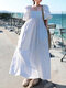 Casual Solid Color Big Swing Pockets Cotton Loose Dress - White